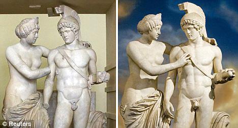 Слева: так статуи выглядели без недостающих частей, справа: скульптуры после реставрации