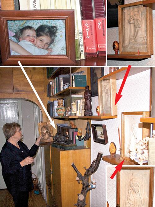В прихожей у Светланы Алексеевны на видных местах выставлены иконы работы её супруга и фотографии внучек Кати и Лизы