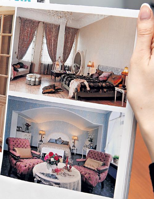 Вверху: спальня ПУГАЧЁВОЙ с розовым паркетом - настоящие покои королевы. Внизу - голубая гостевая комната, расположенная в самой высокой башне замка