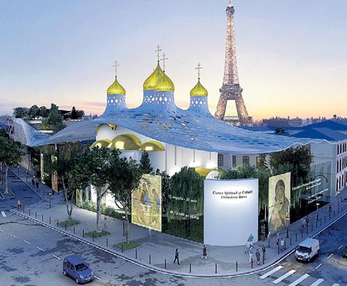 Золотые купола православного храма органично впишутся в парижский пейзаж. Фото архитектурного бюро Arch group