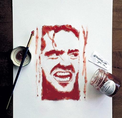 Основным ингредиентом для создания портрета Джека НИКОЛСОНА в роли из триллера «Сияние» стал малиновый джем