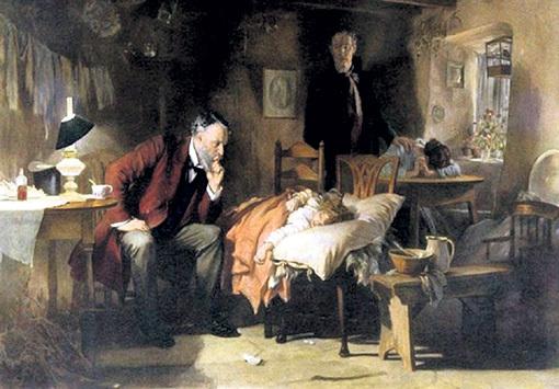 В Европе грипп называли крестьянской лихорадкой. Лечили тёплыми ваннами для ног и подогретым красным вином с пряностями (картина Люка ФИЛДЕСА «Доктор»)