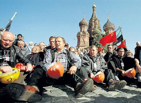 Шахтёры в Москве пробивают рыночные идеи Бориса ЕЛЬЦИНА, 1990 г. Фото: © Reuters