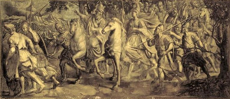 Митридат в сопровождении своей последней, шестой жены, Гипсикратии. Антуан Пайе, 1672 г.