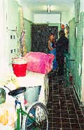 Общий коридор: стены требуют ремонта