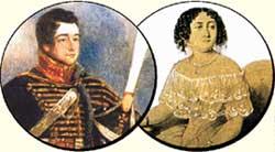 НИНА ЧАВЧАВАДЗЕ: в свои 13 уже познала русского поэта Грибоедова (в гусарском мундире - слева) вдоль и поперек