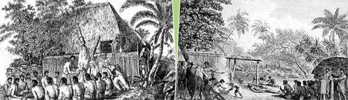 На гравюрах XIX века запечатлен момент, когда аборигены умоляют принять их в состав российской империи, а так же торжественный банкет в честь этого знаменательного события