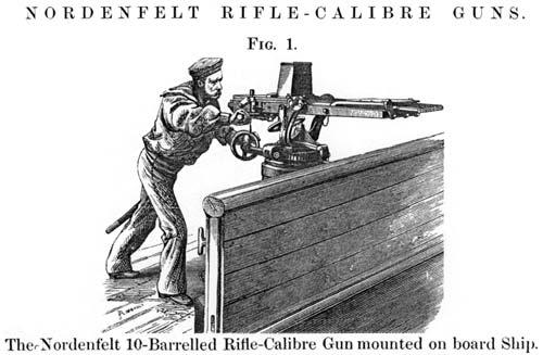 Оставшийся невостребованным на фоне новейшего «Maxim» пулемет разработки Норденфельдта. Источник: wikimedia.org