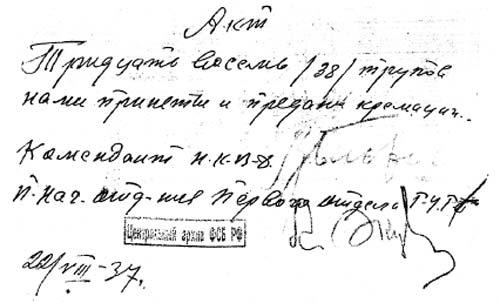 Акт о передаче на кремирование 38 трупов, подписанный Блохиным. Фото из архива ФСБ РФ