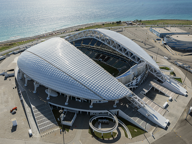 В 1/4 финала Россия сыграет на одном из самых высокотехнологичных стадионов мира