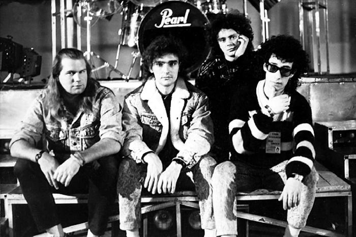 Группа «Сталкер» образца 1987 года: Сергей Костров, Андрей Державин, Сергей Терентьев и Виталий Лихтенштейн